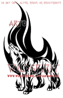 Howling Flame Wolf Tribal Design by WildSpiritWolf