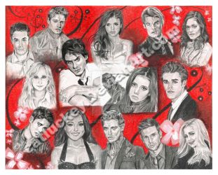 The Vampire Diaries Cast Portrait by Catluckey