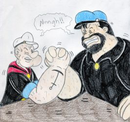 Popeye and Bluto Arm-Wrestling by Jose-Ramiro