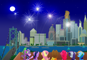 Fireworks Over Manehatten by OinkTweetStudios