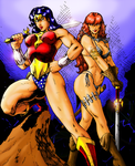 Wonder Woman and Red Sonja by Lun-K