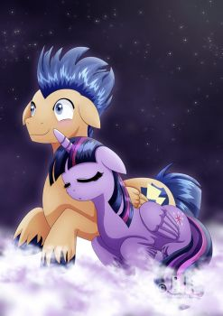 Flash Sentry and Twilight_at night by jotakaanimation