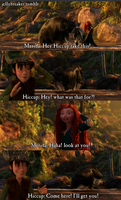 merida and hiccup playing in the river by jellybreaker