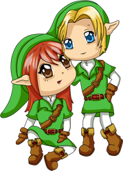 Commission: Chibi Alissa and Link by squeezycheesecake
