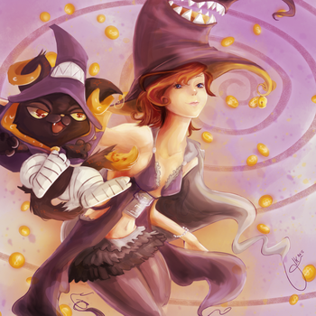 Hazel and her cat [CE] by leniart