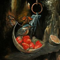 Still life with Kingfisher and Strawberry Boat by neon999