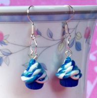 Blue Swirl Cupcake Earrings by Cuddlebugeeshi