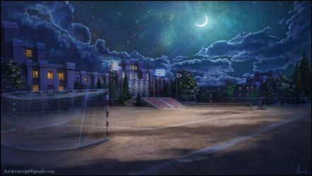 School Ground at Night by Azot2018