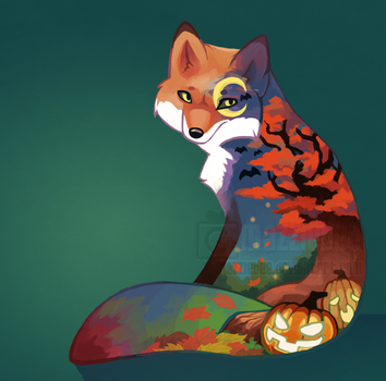 Autumn Fox +Commission+ by Mazzlebee