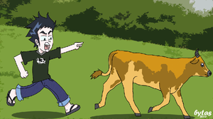 run away cow by budoxesquire