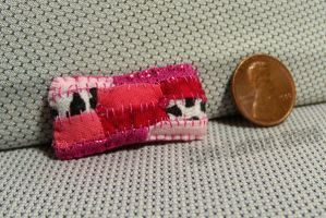 Pink and Spotted Miniature Patchwork Pillow by Kyle-Lefort