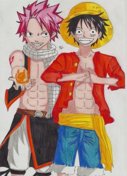 Natsu Fairy Tail, Luffy One Piece by Lucy-chan90