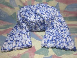 Blue 'n White Blizzard Scarf by SmilingMoonCreations
