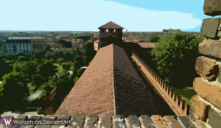 View from the castle tower, Painting Style by Woriorh