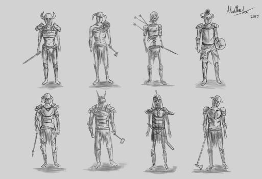 Undead Draugr Concept Design Sketches by MattzProductionz