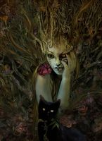 Portrait with Mask and Cat by Madink2000