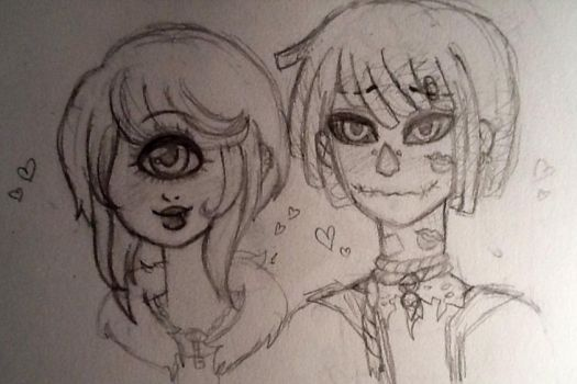 Krow and Naomi untitled sketch by Chizeropa
