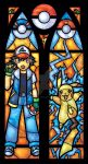 Pokemon Stained Glass Window with Ash and Pikachu by nenuiel