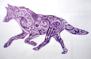 Purple zentangle wolf by lupinemoonfeather