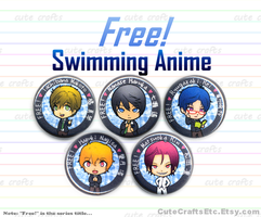 Swimming Anime 'Free!' Buttons by MyFebronia