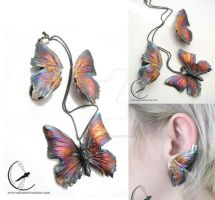 Butterfly earrings and necklace by RekamiStworzone