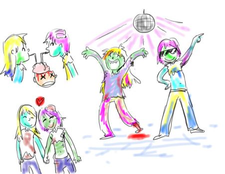 rainbow lesbian disco zombies by AnnabelD