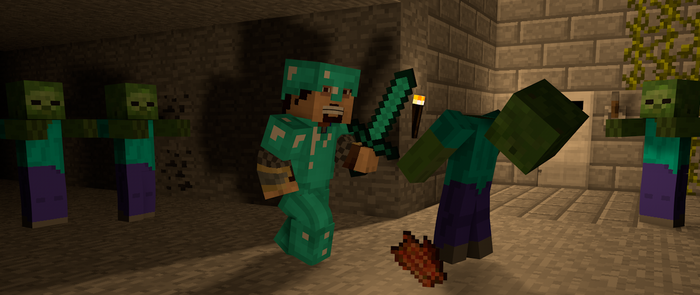 Minecraft Diamond-warrior fighting Zombies by MisteriosM