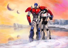 Optimus and Jazz by Naihaan