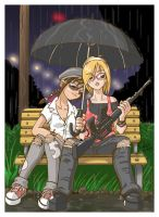 2 girls, an umbrella and a gun by OmegaDez