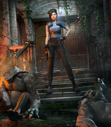 Jill Valentine Vs. Hunters by DemonLeon3D
