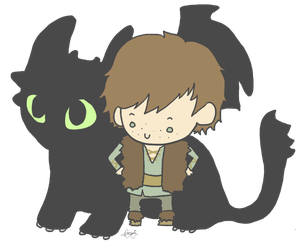 Hiccup and Toothless by StrawHatAna