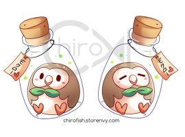 Rowlet Acrylic charms by Chiroyo
