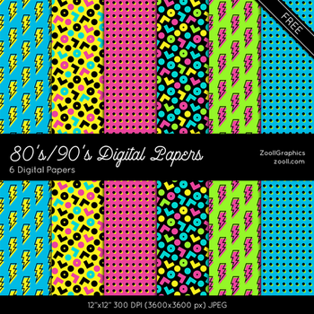 80s 90s Digital Papers by MysticEmma