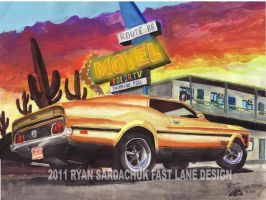 1971 Ford Mustang Mach 1 In The Desert by FastLaneIllustration