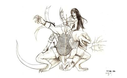 Lizardfolk and magician_dungeons and dragons by Angiecla