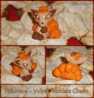 Pokemon - Vulpix Necklace Charm - Fire Type PKMN by YellerCrakka