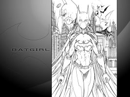 Batgirl black and white by particle9