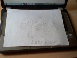 SONIC drawing SONIC ^^ by Astrixsonic14