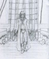 Larkh on  board ship (Line Art) by AeldynnLore