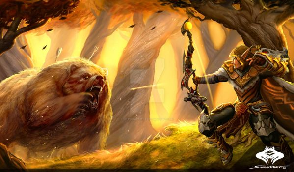 ...Commission: Blood Elf Hunter Scene... by ShadowPriest