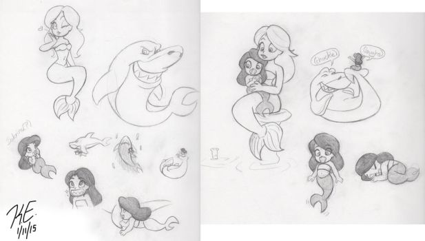 Zig and Sharko sketches by SilverFangedWolf
