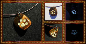 Cat Paw Pendant - Tiger Iron in White by ChimeraDragonfang