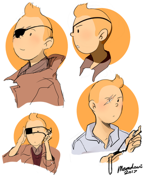 Tintin eyepatch doodles by Meadowi