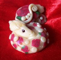 Rose Polymer Clay Dragon by ValerianaSolaris