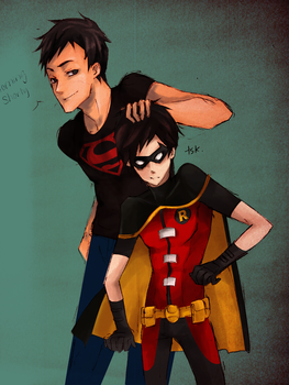 YJ: Superboy and Robin by muraito