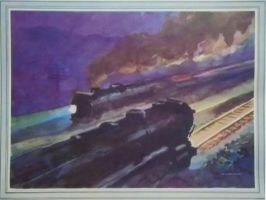 Otto Kuhler Railroad Art - Passenger Trains Pass by PRR8157