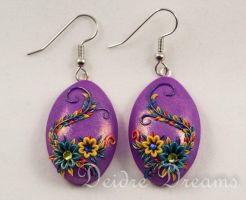 Spring Equinox Polymer Clay Flower Earrings by DeidreDreams