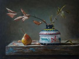 Antique vase and pear by marcheba