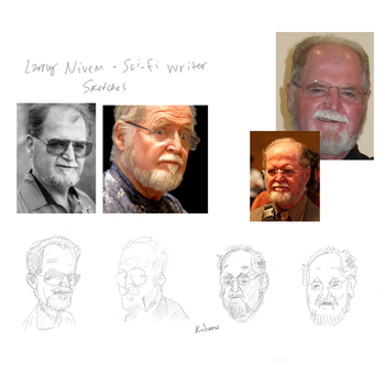 Larry Niven caricature 01 by kinow