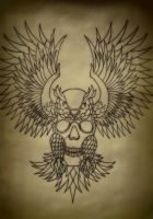 Traditional Skull Within Owl Tattoo Flash by Battered-n-Bruised